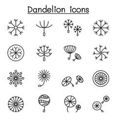 dandelions icon set in thin line style vector image