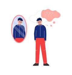 Depressed teen boy looking at mirror teenage vector