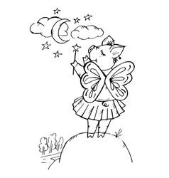 doodle cute pig fairy with wings and magic vector image