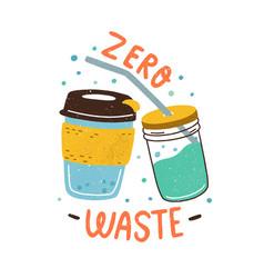 Eco sticker with zero waste inscription and vector