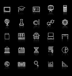 education line icons with reflect on black vector image