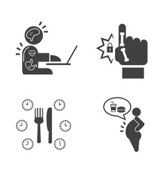Effect of office syndrome icons set vector