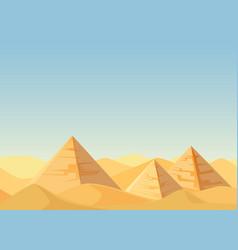 egypt pyramids desert landscape cartoon flat vector image