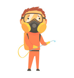 Exterminator in orange protection uniform and face vector