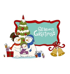 Family of the snowman near to a Christmas fur-tree vector