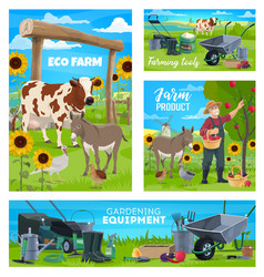 Farm and gardening agriculture farming equipment vector