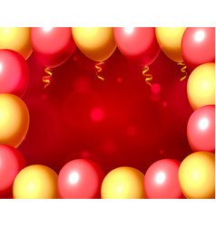 festive balloon in an empty frame color red and vector image