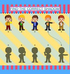 Find correct shadow cartoon young businessman vector