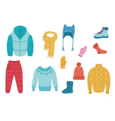 flat cold weather winter clothing set vector image