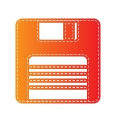 Floppy disk sign Orange applique isolated vector image
