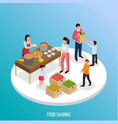 Food sharing isometric background vector