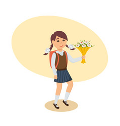 Girl in uniform with flowers goes to school vector