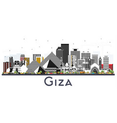 Giza egypt city skyline with gray buildings vector