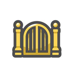 Golden holy gates icon cartoon vector