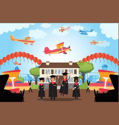 Graduation people pilot academy future employees vector