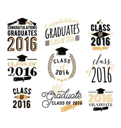 Graduation wishes overlays lettering labels vector image