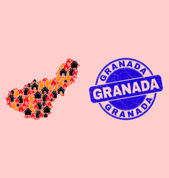 Granada province map mosaic flame and buildings vector