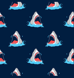 hand drawing shark and print vector image