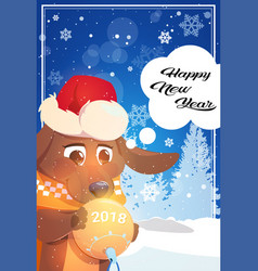 happy new year greeting card with dog in santa hat vector image