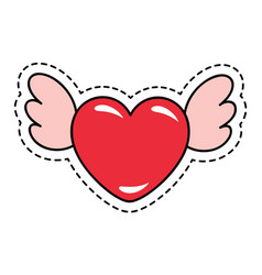 heart shaped sticker with wings for valentines day vector image