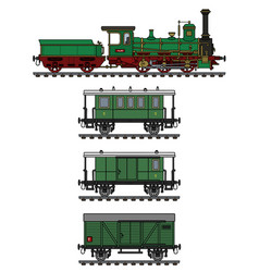 Historical green steam train vector