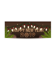 horizontal holiday banner for new year 2019 vector image