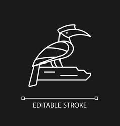Hornbill white linear icon for dark theme vector