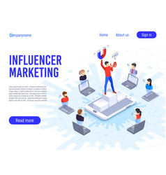 Influencer marketing influence on b2c clients vector