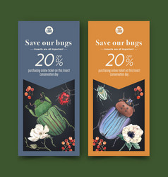 Insect and bird flyer design with flower beetle vector