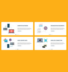 Internet banner set technology internet and vector