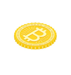 isometric bitcoin flat icon on the white vector image