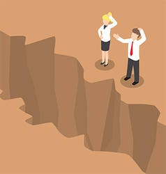 Isometric businesspeople standing at edge c vector