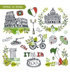 Italy Rome landmark setSpring leaves wreath group vector