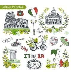 Italy Rome landmark setSpring leaves wreath group vector