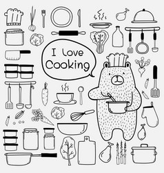 Line hand drawn doodle cooking set vector