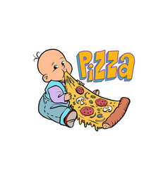 little baby favorite cute baby eating pizza vector image