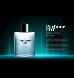 Mens perfume contained square blue bottle vector