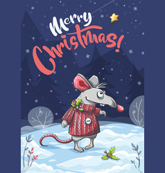 merry christmas funny mouse vector image