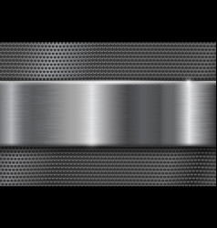 metal perforated background with brushed plate vector image vector image