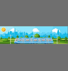 modern tram train passenger streetcar cityscape vector image