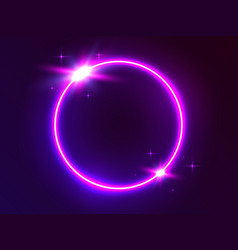 Neon circle futuristic round light glowing frame vector