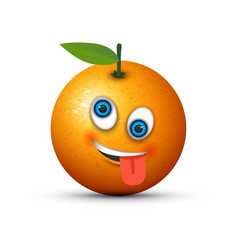 orange crazy emoji vector image