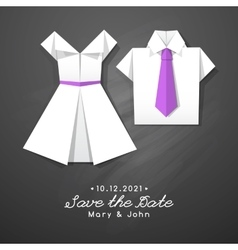 Origami dress and shirt wedding invitation vector