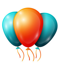 Realistic blue orange balloons with ribbons vector