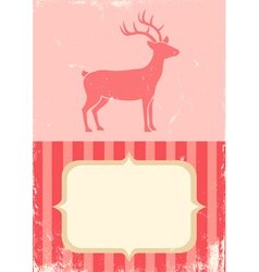 Retro of christmas deer vector