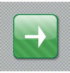 Right arrow icon Glossy green button vector