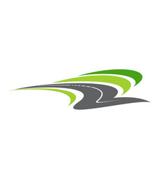 Road pathway highway isolated cartoon icon vector
