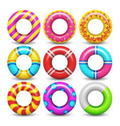Rubber swimming ring isolated set vector