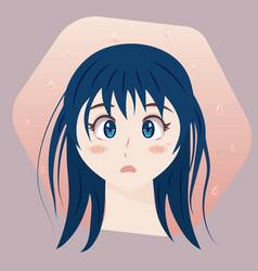 Sad anime girl crying vector