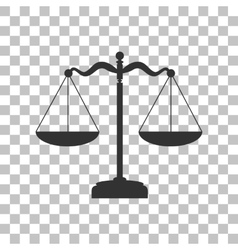 Scales balance sign Dark gray icon on transparent vector image